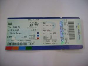 Biglietto intatto concerto 31/03/2005 MILANO