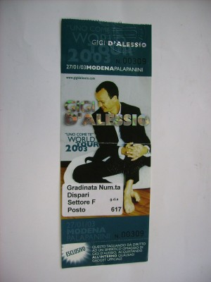 Ticket intatto Modena 27/01/03